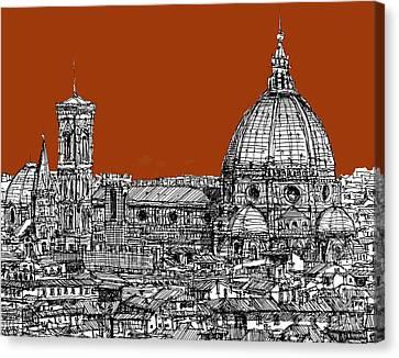 Florence Duomo On Sepia  Canvas Print by Adendorff Design