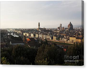 Canvas Print featuring the photograph Florence Form The Piazza Michalengelo by Belinda Greb
