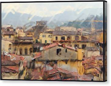 Florence In The Rain Canvas Print by Oscar Alvarez Jr