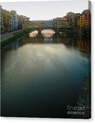 Florence Italy - Ponte Vecchio - Sun Rise Canvas Print by Gregory Dyer