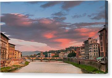 Canvas Print featuring the photograph Florence Italy Sunset by Avian Resources