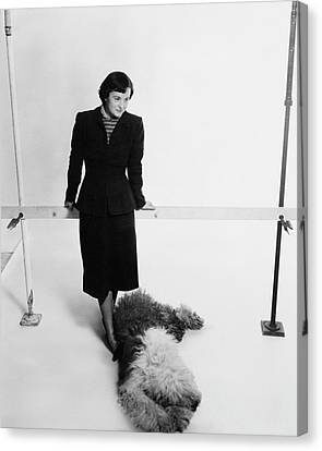 Full Skirt Canvas Print - Florence Knoll And Her Dog by Herbert Matter