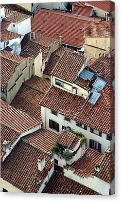 Canvas Print featuring the photograph Florence Roof Tiles by Henry Kowalski