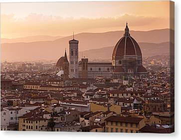 Tuscan Sunset Canvas Print - Florence Skyline At Sunset by Francesco Emanuele Carucci