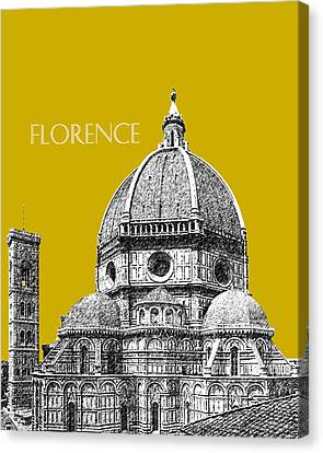 Florence Skyline Cathedral Of Santa Maria Del Fiore 1 - Gold   Canvas Print by DB Artist