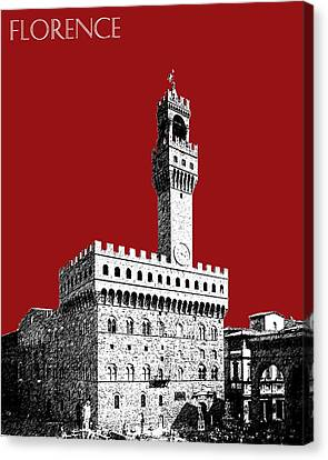 Florence Skyline Palazzo Vecchio - Dark Red Canvas Print by DB Artist