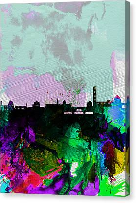Florence Watercolor Skyline Canvas Print