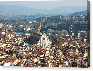 Florence With The Basilica Di Santa Croce Canvas Print