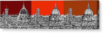 Florence's Duomo In Oranges Canvas Print by Adendorff Design