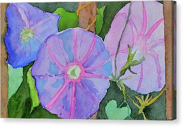Canvas Print featuring the painting Florence's Morning Glories by Beverley Harper Tinsley