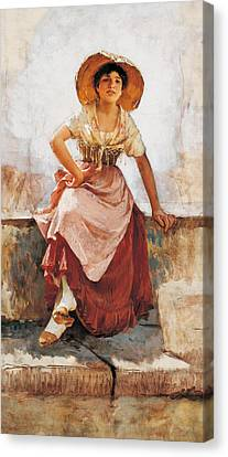 Florentine Flower Girl Canvas Print by Frank Duveneck
