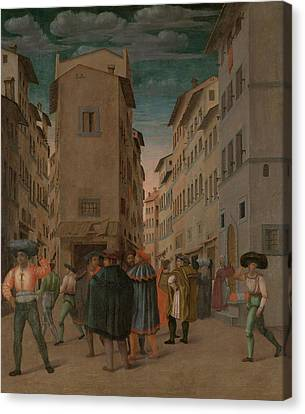 Florentine Street Scene With Twelve Figures Sheltering Canvas Print