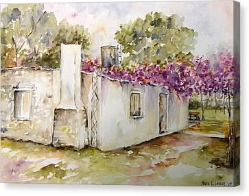 Flores Lilas Y Celestes Canvas Print