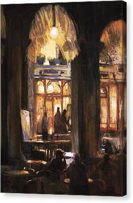 Florians Cafe Venice Canvas Print by Jackie Simmonds