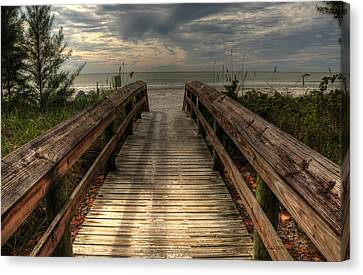 Canvas Print featuring the pyrography Florida Beach Entrance With A Beautiful Sky by Julis Simo