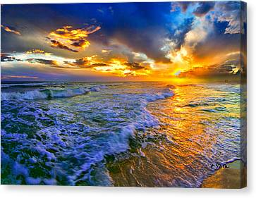 Florida Beach-golden Suntrail Sunset-rolling Sea Waves Canvas Print by Eszra Tanner