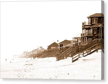 Florida Beach Sepia Print Canvas Print by Charles Beeler
