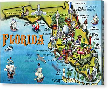 Florida Cartoon Map Canvas Print by Kevin Middleton