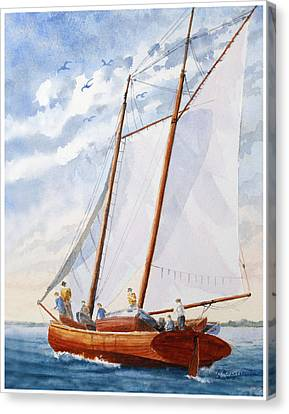 Canvas Print featuring the painting Florida Catboat At Sea by Roger Rockefeller