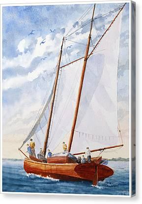 Florida Catboat At Sea Canvas Print