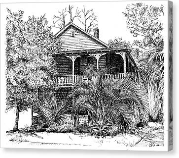 Canvas Print featuring the drawing Florida House by Arthur Fix