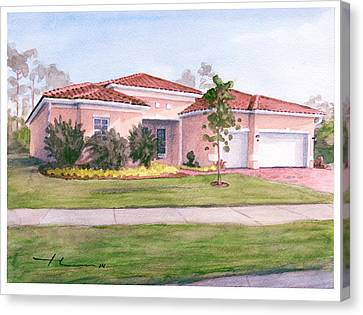 Florida House Watercolor Portrait Canvas Print by Mike Theuer