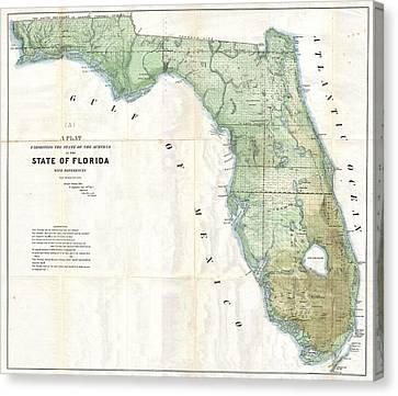 Florida Land Platt Map 1853 Canvas Print by Suzanne Powers