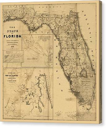 Old Map Canvas Print - Florida Map Art - Vintage Antique Map Of Florida by World Art Prints And Designs