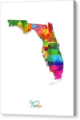 Florida Map Canvas Print by Michael Tompsett