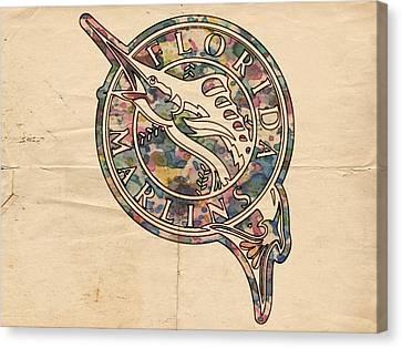 Florida Marlins Vintage Poster Canvas Print by Florian Rodarte