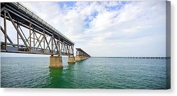 Florida Overseas Railway Bridge Near Bahia Honda State Park Canvas Print by Adam Romanowicz