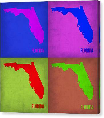 Florida Pop Art Map 1 Canvas Print by Naxart Studio