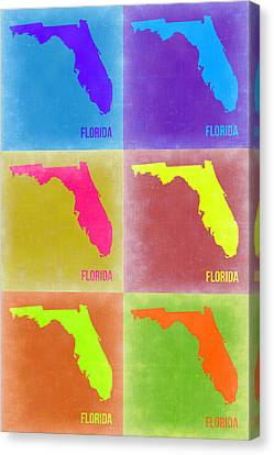 Florida Pop Art Map 2 Canvas Print by Naxart Studio