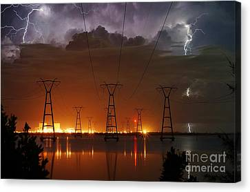 Florida Power And Lightning Canvas Print by Lynda Dawson-Youngclaus