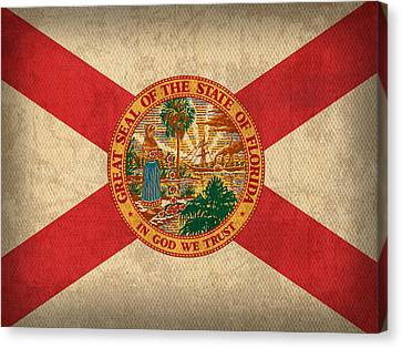 Florida State Flag Art On Worn Canvas Canvas Print by Design Turnpike
