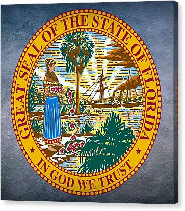 Sun Rays Canvas Print - Florida State Seal by Movie Poster Prints