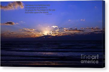 Florida Sunset Beyond The Ocean  - Quote Canvas Print by Gena Weiser