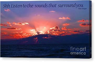 Florida Sunset Beyond The Ocean - Shh Canvas Print by Gena Weiser