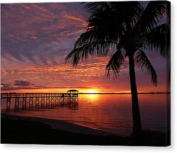 Canvas Print featuring the photograph Florida Sunset by Elaine Franklin