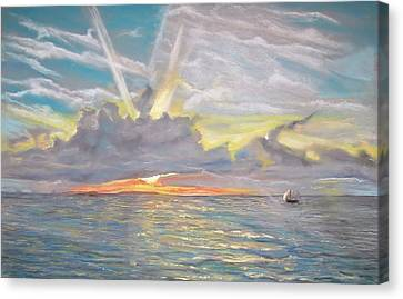 Canvas Print featuring the pastel Florida Sunset by Peter Suhocke