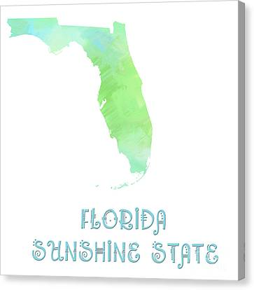 Florida - Sunshine State - Map - State Phrase - Geology Canvas Print by Andee Design