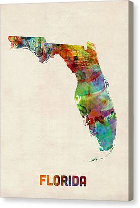 Map Art Canvas Print - Florida Watercolor Map by Michael Tompsett
