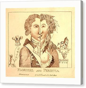 Florizel And Perdita, En Sanguine Engraving 1780s Canvas Print