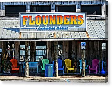 Chowder House Canvas Print - Flounders by Chuck Johnson
