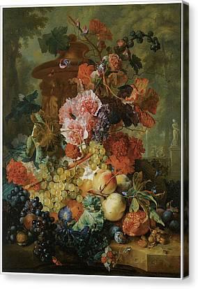 Flower And Fruit Piece Canvas Print by Jan Van Huysum