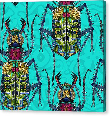 Flower Beetle Turquoise Canvas Print by Sharon Turner