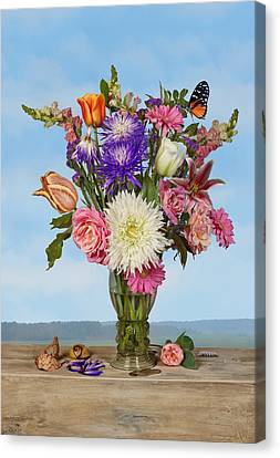 Canvas Print featuring the photograph Flower Bouquet On A Ledge by Levin Rodriguez