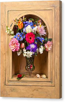 Canvas Print featuring the photograph Flower Bouquet On Closed Niche by Levin Rodriguez
