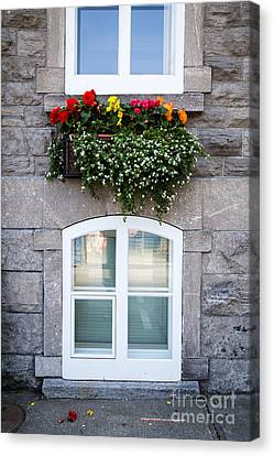 Flower Box Old Quebec City Canvas Print by Edward Fielding