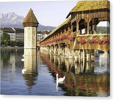 Flower Bridge In Lucerne Switzerland Canvas Print